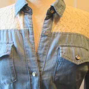Ombre button down cotton shirt with lace yoke s
